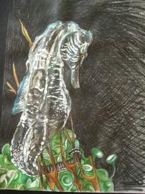 Seepferdchen, Braun, Grün, Schwarz weiß