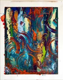 Malerei, Stencil, Farben, Formen