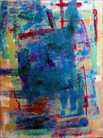 Mischtechnik, Pinsel, Acrylmalerei, Abstrakt