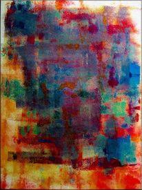 Malen, Spachtel, Blau, Gemälde