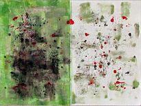 Abstrakt, Gemälde, Sprühen, Diptychon