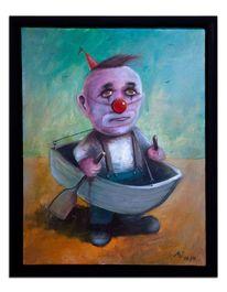 Ruderboot, Clown, Angst, Wasser