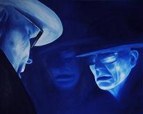 Gesicht, Blau, Malerei, Portrait