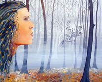 Nebel, Frau, Pferde, Portrait
