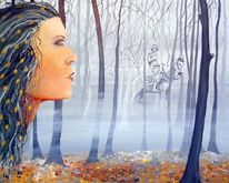 Pferde, Portrait, Baum, Wald