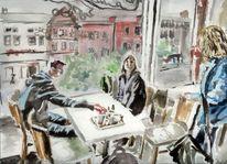 Cafe, Beschoff, Irland, Aquarell