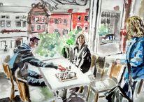 Beshoffs cafe gegenlicht, Malerei, Cafe