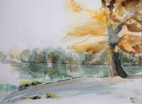 Herbst see ingolstadt, Aquarell