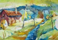 Bach, Aquarell landschaft, Haus, Aquarell