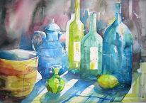 Aquarellmalerei, Weinflaschen, Aquarell