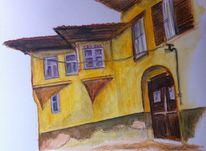 Dorf, Alt, Fenster, Gelb