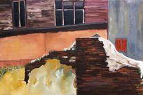 Ziegel, Holz, Fenster, Moos