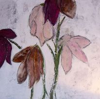 Blumen, Mixed media, Rosa, Braun