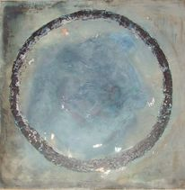 Blattmetall, Rund, Acrylmalerei, Blau