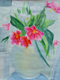 Bleu, Blumen, Aquarellmalerei, Pink