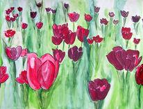 Aquarellmalerei, Aubergine, Pink, Rot