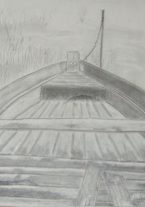 Grafit, Schwarz weiß, Boot, Grau