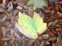 Braun, Ölmalerei, Blätter, Gelb