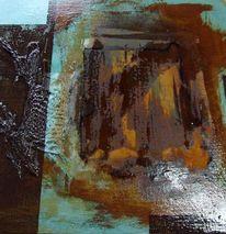 Malplatte, Rost, Acrylmalerei, Türkis