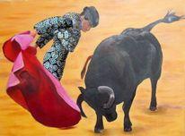 Torero, Ölmalerei, Stier, Arena