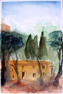 Ocker, Grün, Aquarellmalerei, Mallorca