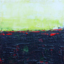 Grün, Rot, Horizont, Spachteltechnik