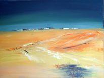 Acrylmalerei, Weiß, Orange, Minimalismus