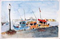 Aquarellmalerei, Fischerboot, Pollença, Blau