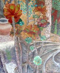 Pflanzen, Formentera, Sukkulenten, Ölmalerei