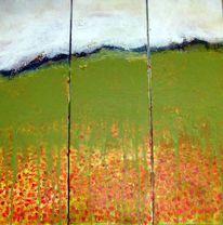 Grün, Acrylmalerei, Triptychon, Blumenwiese