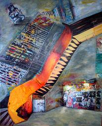 Abstrakt, Acrylmalerei, Collage, Malerei