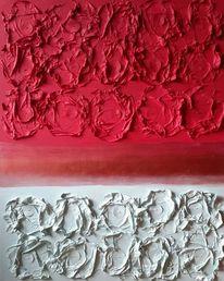 Hellblau, Acrylmalerei, Abstrakt, Rot
