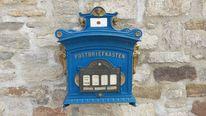 Briefkasten, Brief, Blau, Fotografie