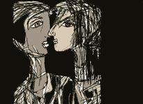 Surreal, Skurril, Gesicht, Zeichnungen