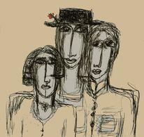 Skurril, Humor, Gruppenbild, Zeichnungen
