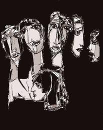 Gesicht, Schwarzweiß, Anblick, Zeichnungen