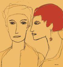 Paar, Ohrringe, Rot, Zeichnungen