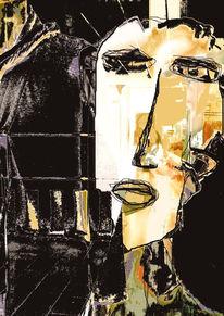 Surreal, Gesicht, Digitale kunst, Zweifel