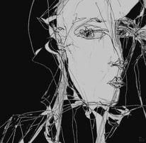Schwarzweiß, Illustration, Skurril, Mischtechnik