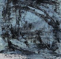 Blau, Schwarz weiß, Malerei, Stranden