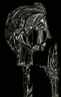 Schwarzweißgrau, Gesicht surreal, Grafik, Surreal