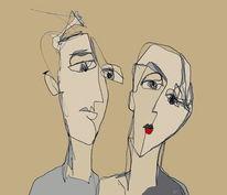 Mund, Paar, Gedanken, Mischtechnik