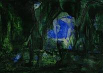 Grün, Elfenbein, Ultramarin, Malerei