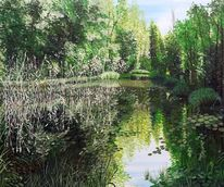 Romantik, Grün, Wasser, Teich