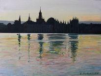 Konstanz, Bodensee, Abendstimmung, Sonnenuntergang wasser spiegelung