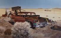Realismus, Landschaft, Auto, Malerei
