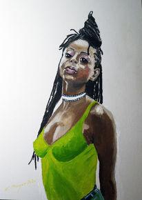 Rasta, Mädchen, Malerei,