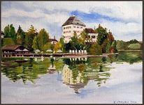 Wasser, Herbst, Schloss, See