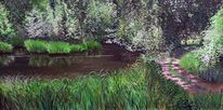 Spiegelung, Licht und schatten, Wald, Teich