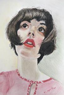 Portrait, Mädchen, Lousa, Malerei